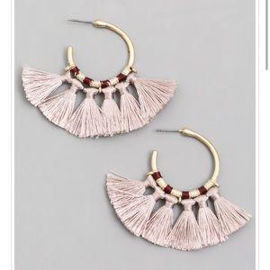 Taupe Tassel Hoop Earrings